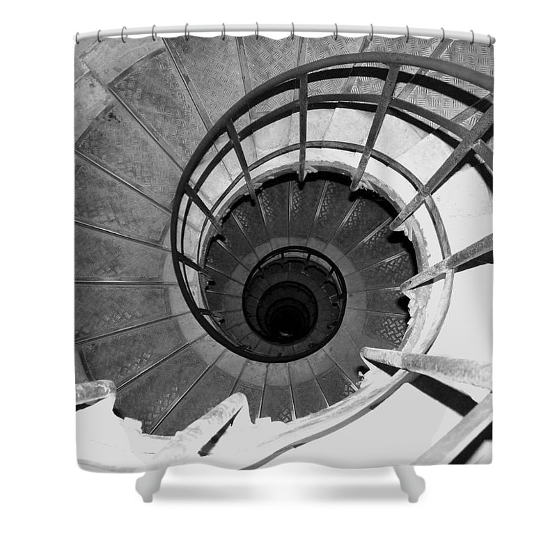 Spiral Staircase Shower Curtain featuring the photograph Spiral Staircase At The Arc by Donna Corless