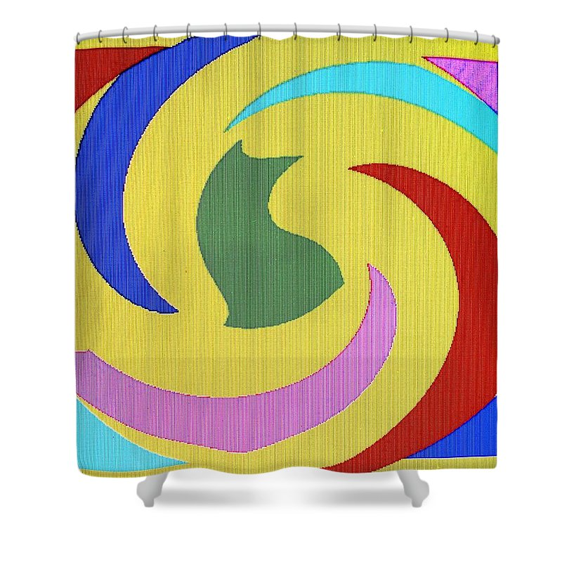 Abstract Shower Curtain featuring the digital art Spiral Three by Ian MacDonald