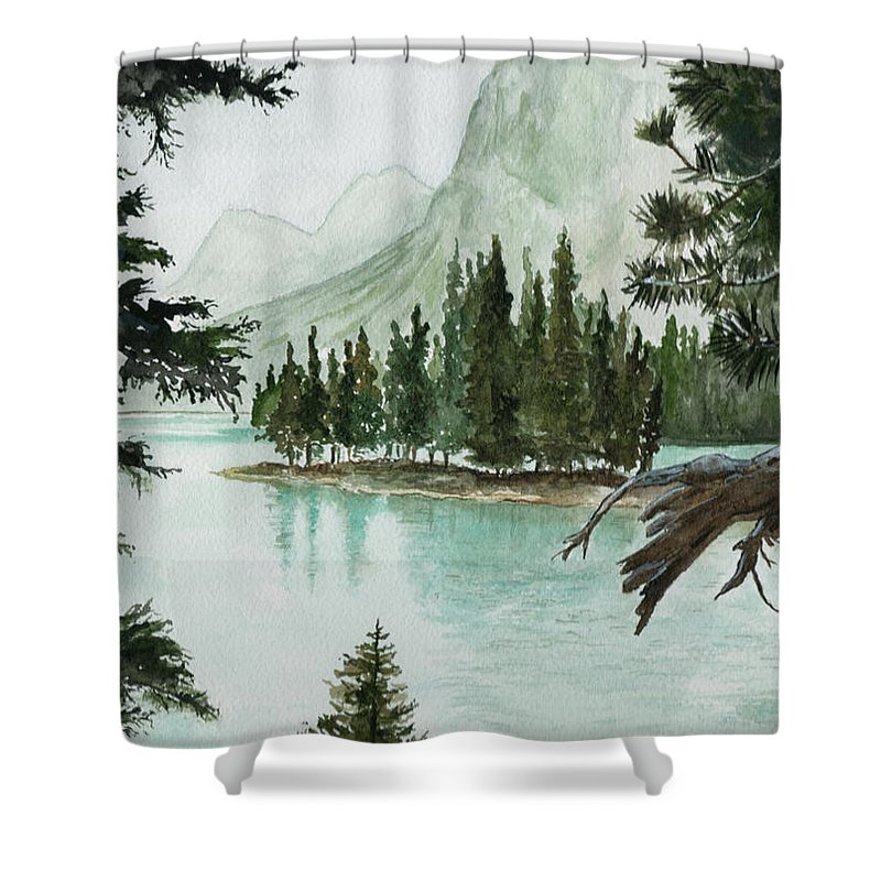 Landscape Shower Curtain featuring the painting Spirit Lake by Brenda Owen
