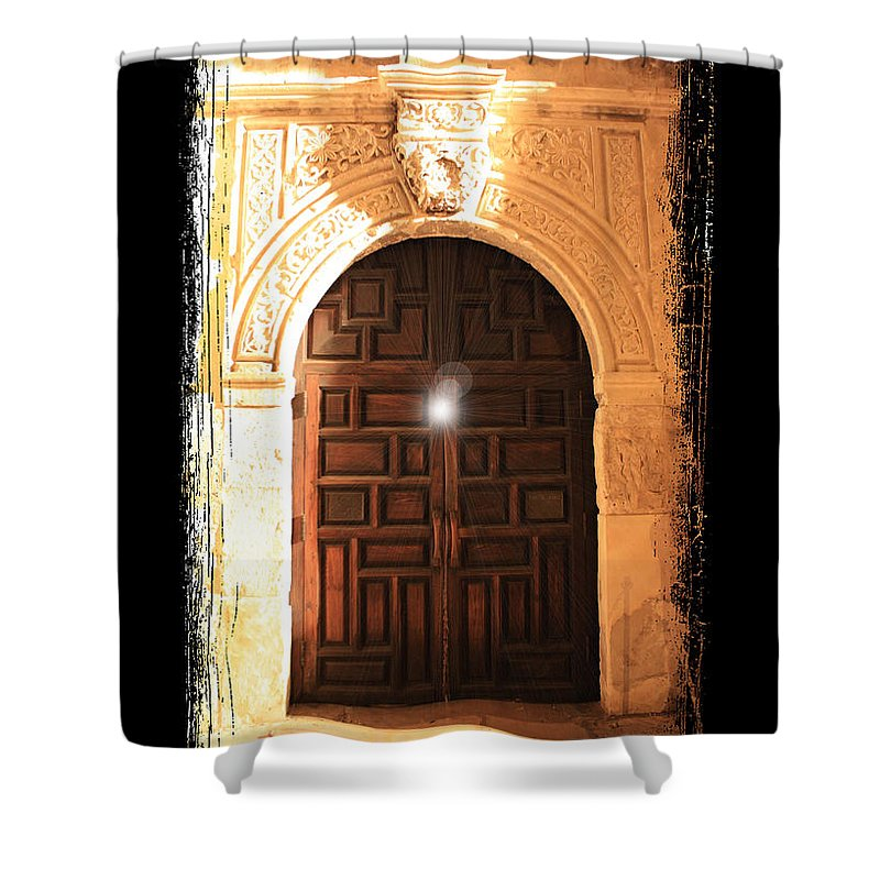 Radiant Light Shower Curtain featuring the photograph Spirit Of The Alamo With Framing by Carol Groenen