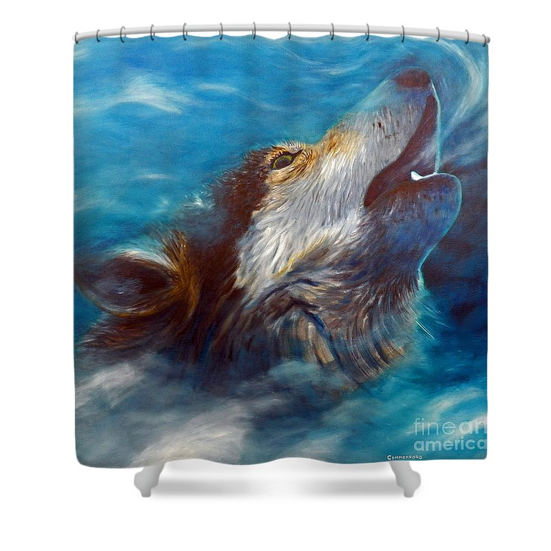 Wolf Shower Curtain featuring the painting Spirit Of The Wolf by Brian Commerford