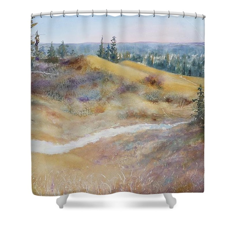 Landscape Shower Curtain featuring the painting Spirit Sands by Ruth Kamenev