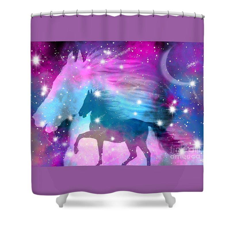 Horse Shower Curtain featuring the drawing Spirit Stallion Midnight Run by Nick Gustafson