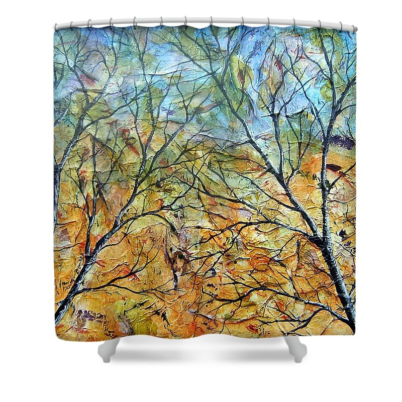 Shower Curtain featuring the painting Spirit Trees 7 by Tami Booher