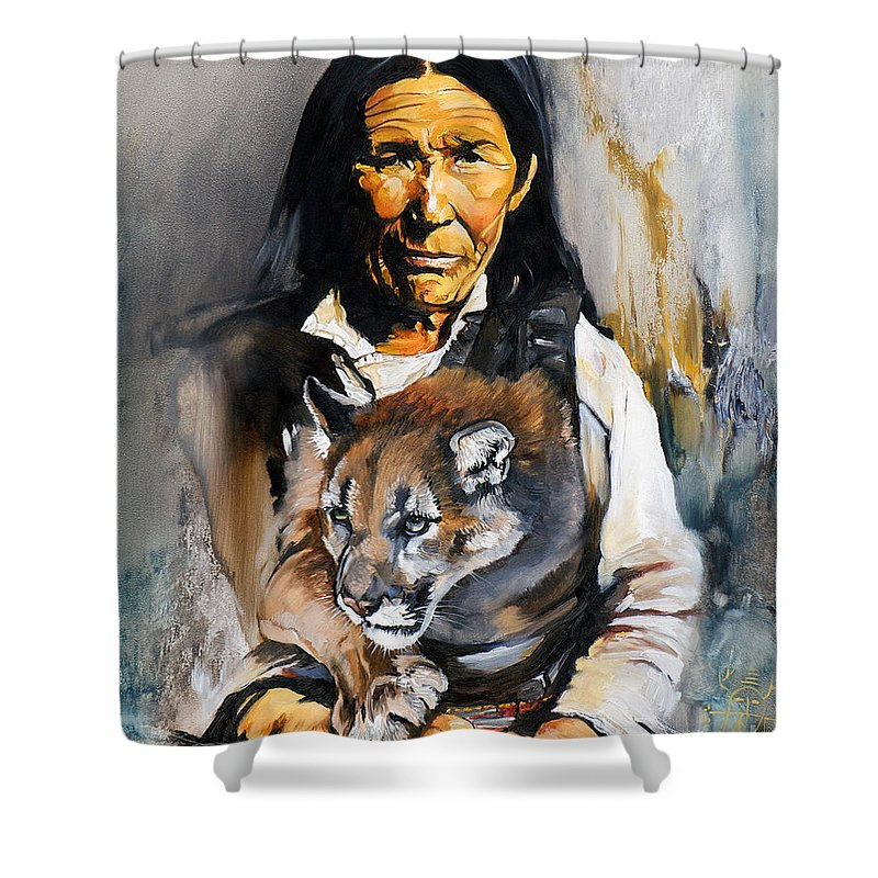 Spiritual Shower Curtain featuring the painting Spirit Within by J W Baker