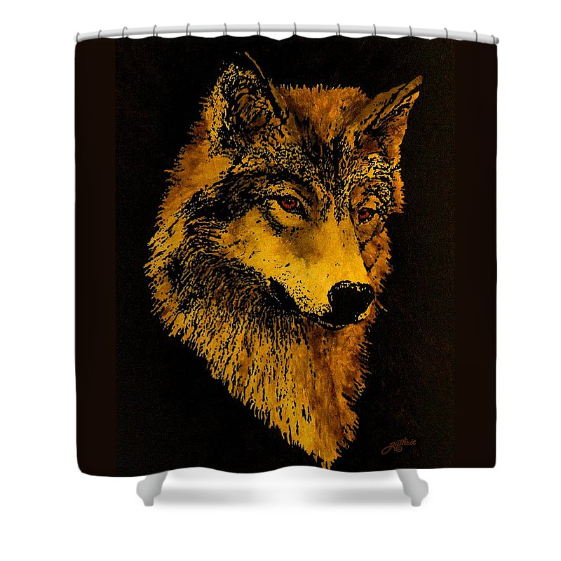 Wolf Shower Curtain featuring the painting Spirit Wolf by John Guthrie