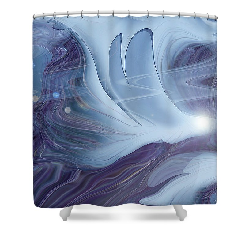 Abstract Shower Curtain featuring the digital art Spirit World by Linda Sannuti