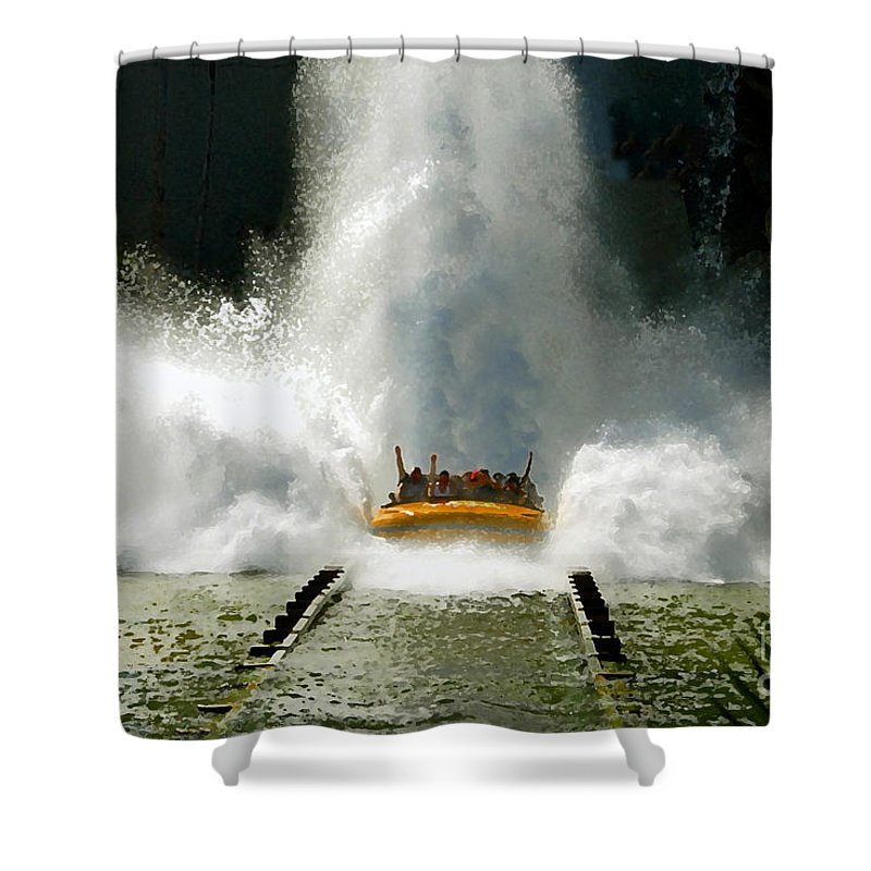 Universal Studios Shower Curtain featuring the photograph Splash Down by David Lee Thompson