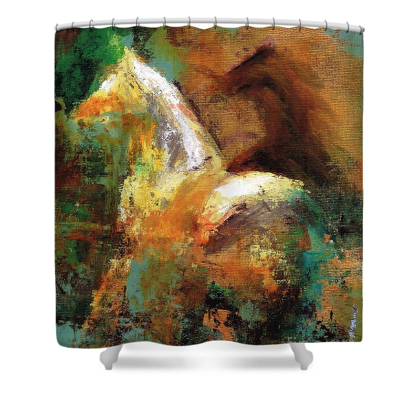 Abstract Horse Shower Curtain featuring the painting Splash Of White by Frances Marino