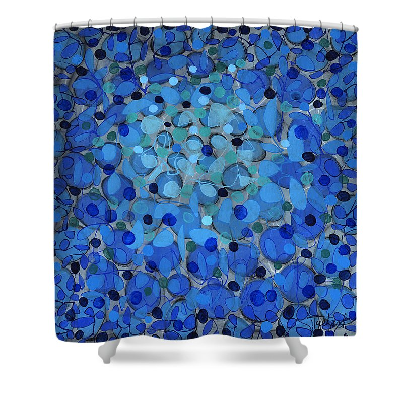 Abstract Shower Curtain featuring the painting Splash Three by Lynne Taetzsch