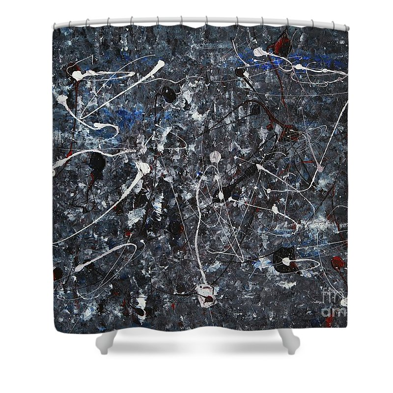 Splatter Shower Curtain featuring the painting Splattered - Grey by Jacqueline Athmann
