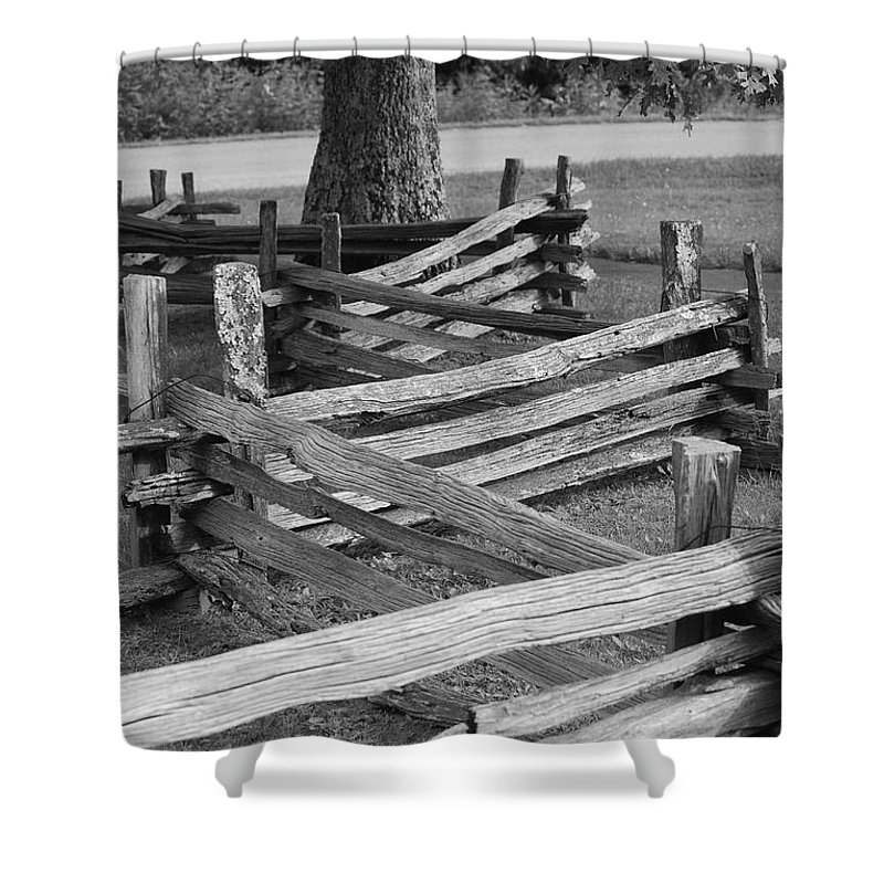 Road Shower Curtain featuring the photograph Split Rail Fence by Eric Liller