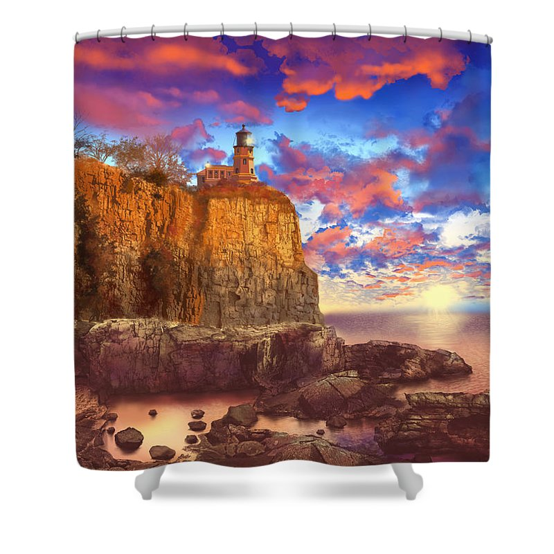 Lighthouse Shower Curtain featuring the painting Split Rock Lighthouse by Bekim Art