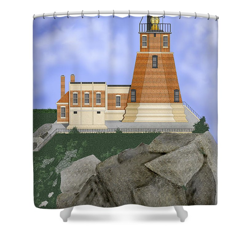 Split-rock Lighthouse Shower Curtain featuring the painting Split Rock Lighthouse On The Great Lakes by Anne Norskog