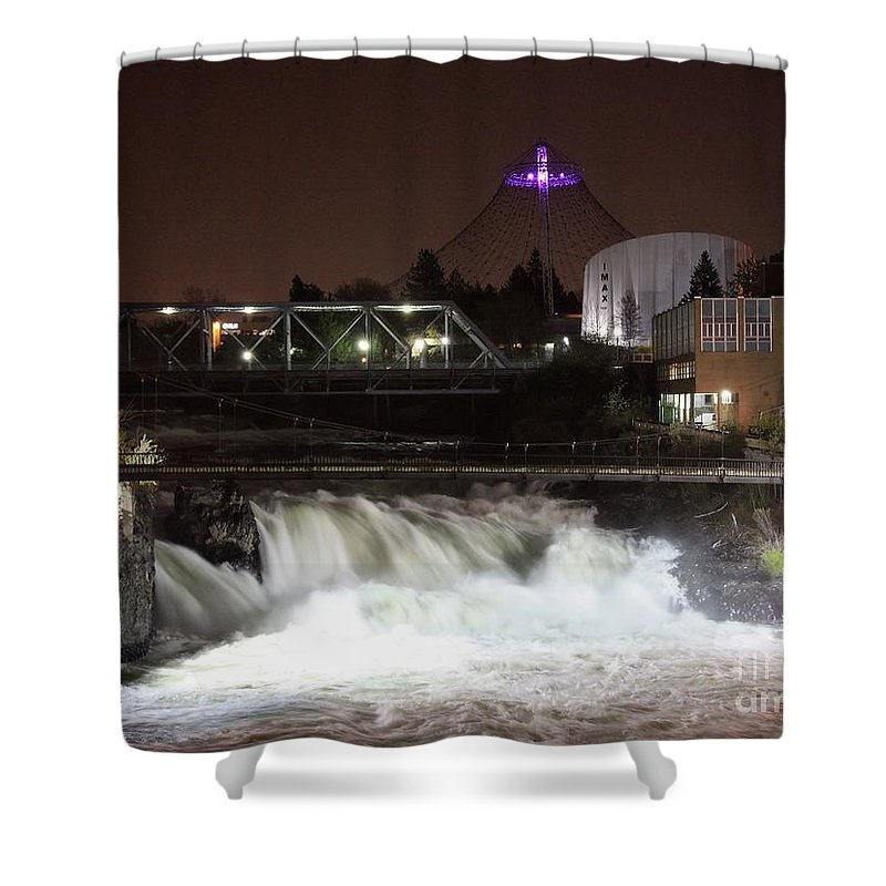 Spokane Shower Curtain featuring the photograph Spokane Falls Night Scene by Carol Groenen