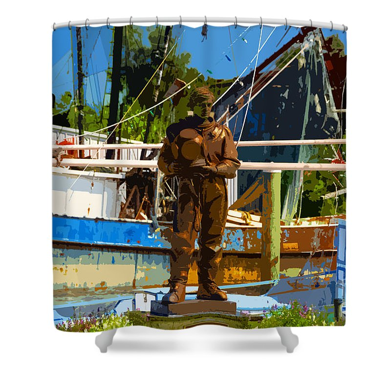 Sponge Diving Shower Curtain featuring the painting Sponge Diver by David Lee Thompson