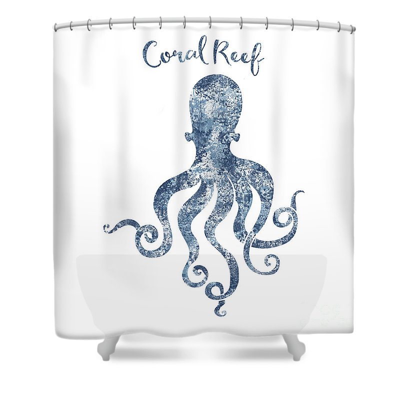Octopus Shower Curtain Featuring The Digital Art Sponge Painted Coral Reef Habitat Delft Blue