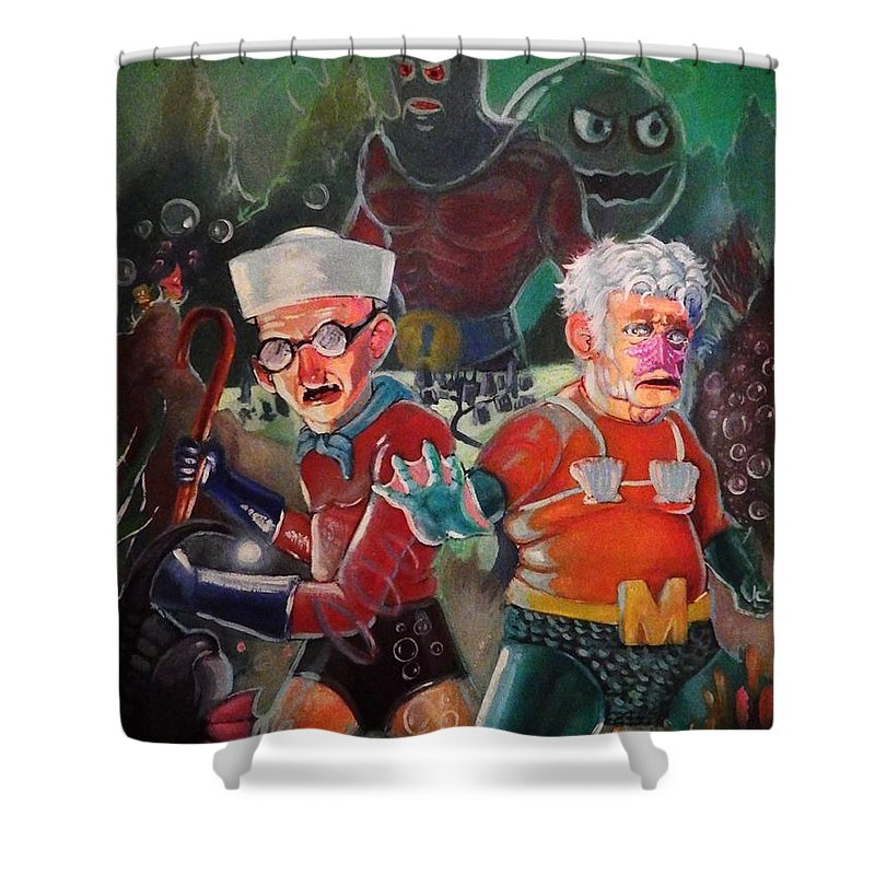 Spongebob Mermaid Man And Barnacle Boy Shower Curtain for Sale by ...