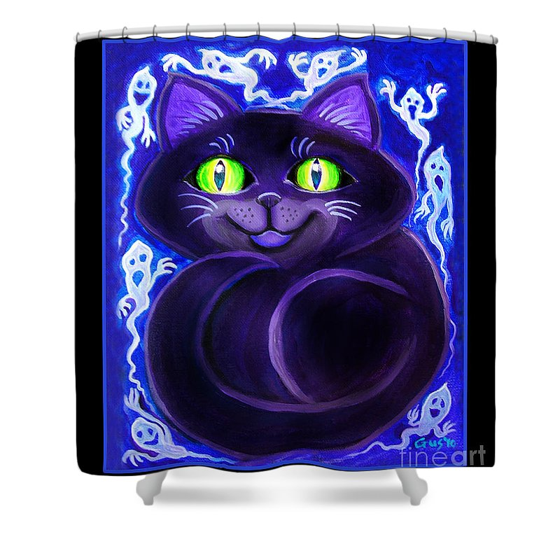 Cat Shower Curtain featuring the painting Spooky Cat by Nick Gustafson