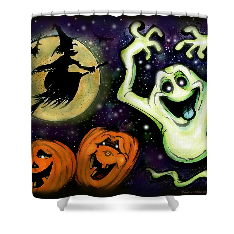 Halloween Shower Curtain featuring the painting Spooky by Kevin Middleton