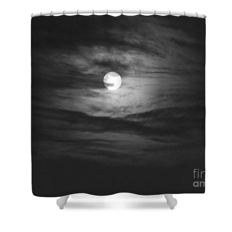 Black And White Shower Curtain featuring the photograph Spooky Moon 2 by Mary Deal