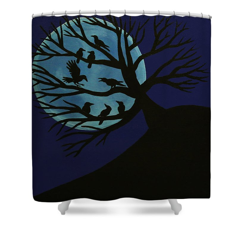 Spooky Raven Tree Shower Curtain