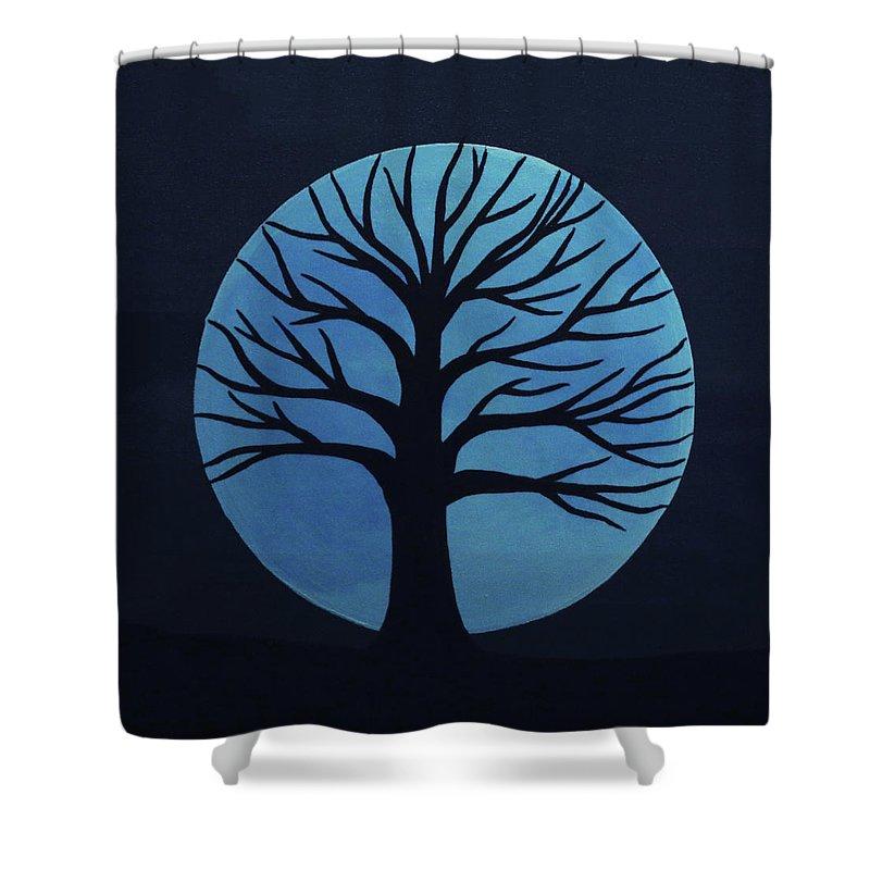 Spooky Tree Blue Shower Curtain