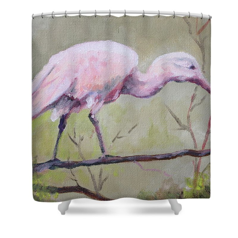 Bird Shower Curtain featuring the painting Spoonbill by Carol Mueller