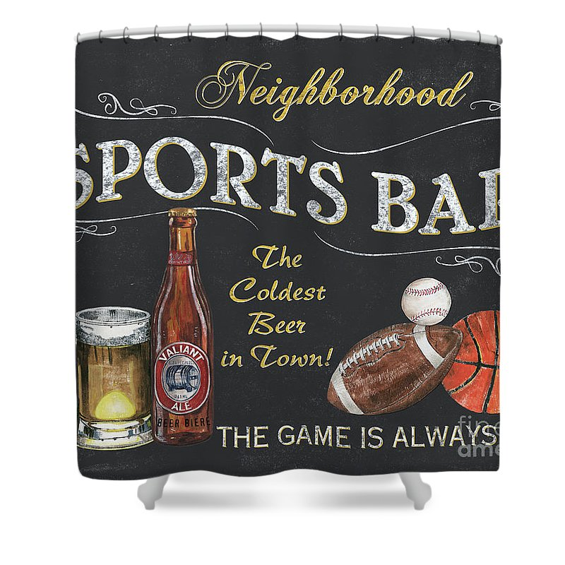 Sports Shower Curtain featuring the painting Sports Bar by Debbie DeWitt