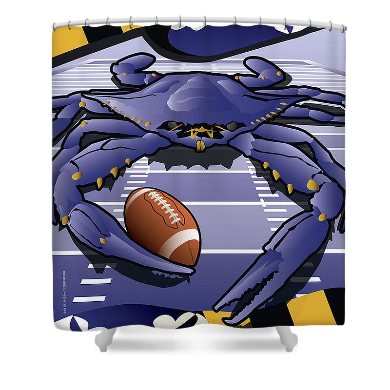 Football Shower Curtain Featuring The Digital Art Sports Crab Raven Marylands Celebrating Baltimore