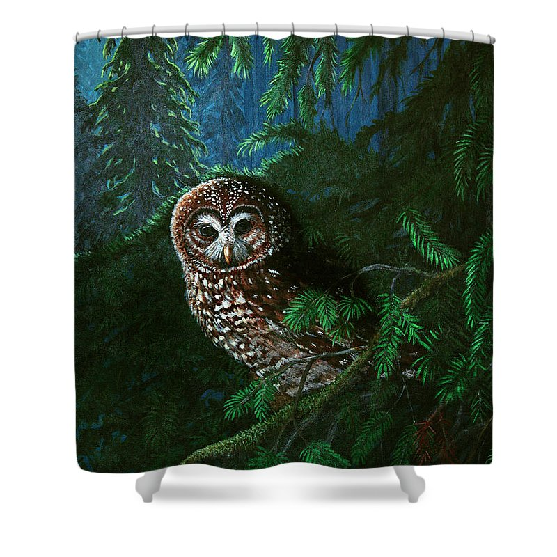 Owl Shower Curtain featuring the painting Spotted Owl In Ancient Forest by Nick Gustafson