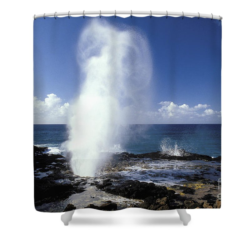 Above Shower Curtain featuring the photograph Spouting Horn Blow Hole by Mary Van de Ven - Printscapes