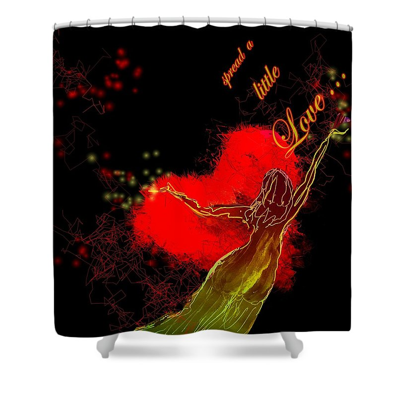 Love Shower Curtain featuring the painting Spread A Little Love by Miki De Goodaboom