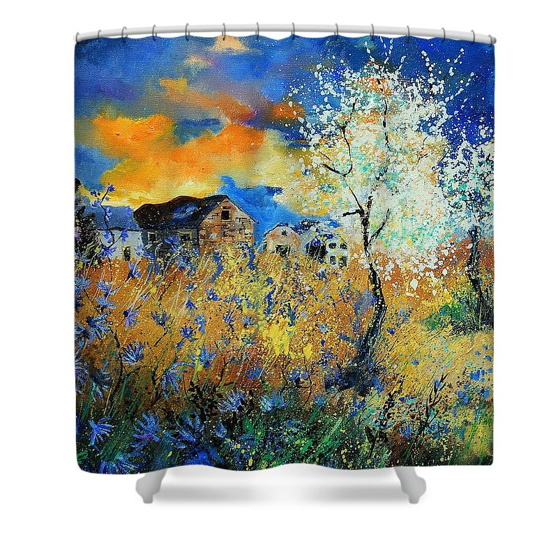 Flowers Shower Curtain featuring the painting Spring 67 by Pol Ledent
