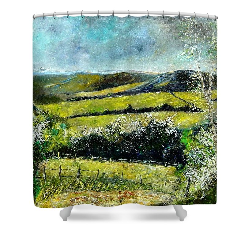 Landscape Shower Curtain featuring the print Spring 79 by Pol Ledent