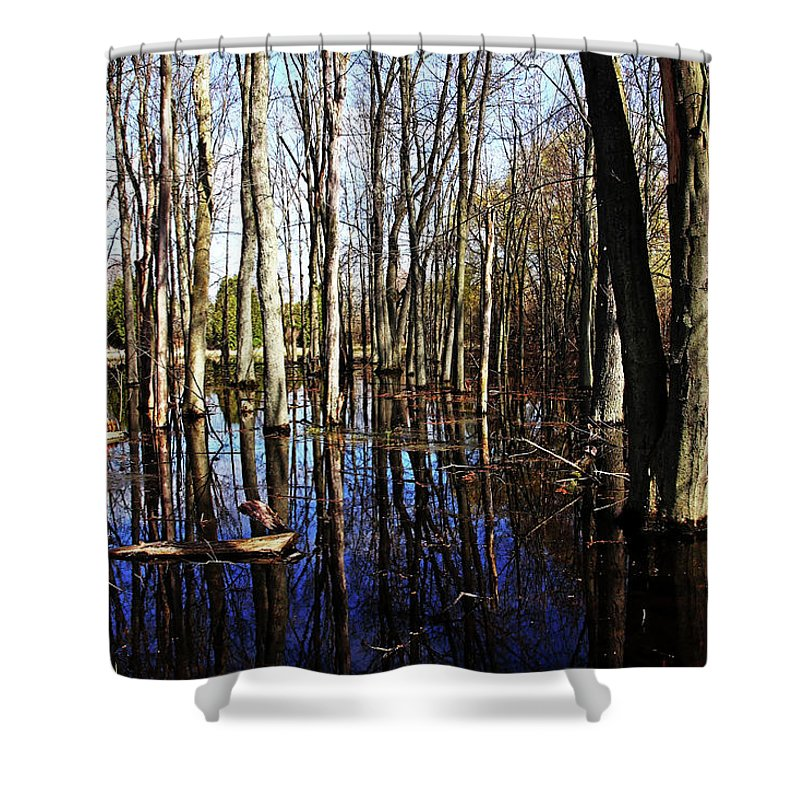 Guelph Shower Curtain featuring the photograph Spring At The Pond by Debbie Oppermann