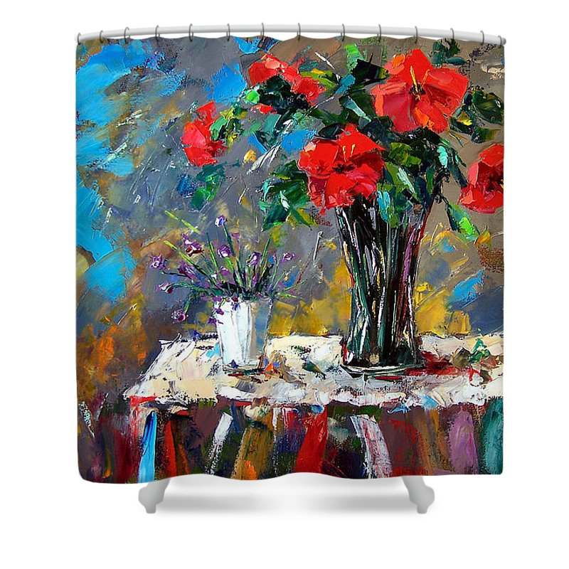 Flowers Shower Curtain featuring the painting Spring Blooms by Debra Hurd
