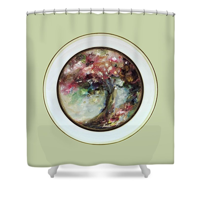Flowering Tree Shower Curtain featuring the painting Spring Blossoms 2nd Version by Mary Wolf