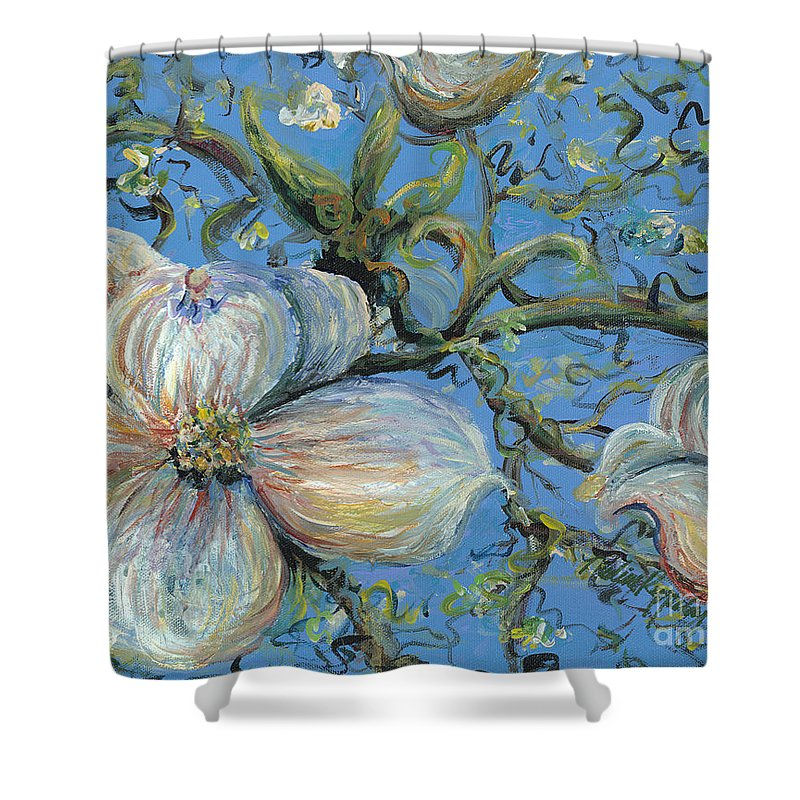 Flower Shower Curtain featuring the painting Spring Blossoms by Nadine Rippelmeyer
