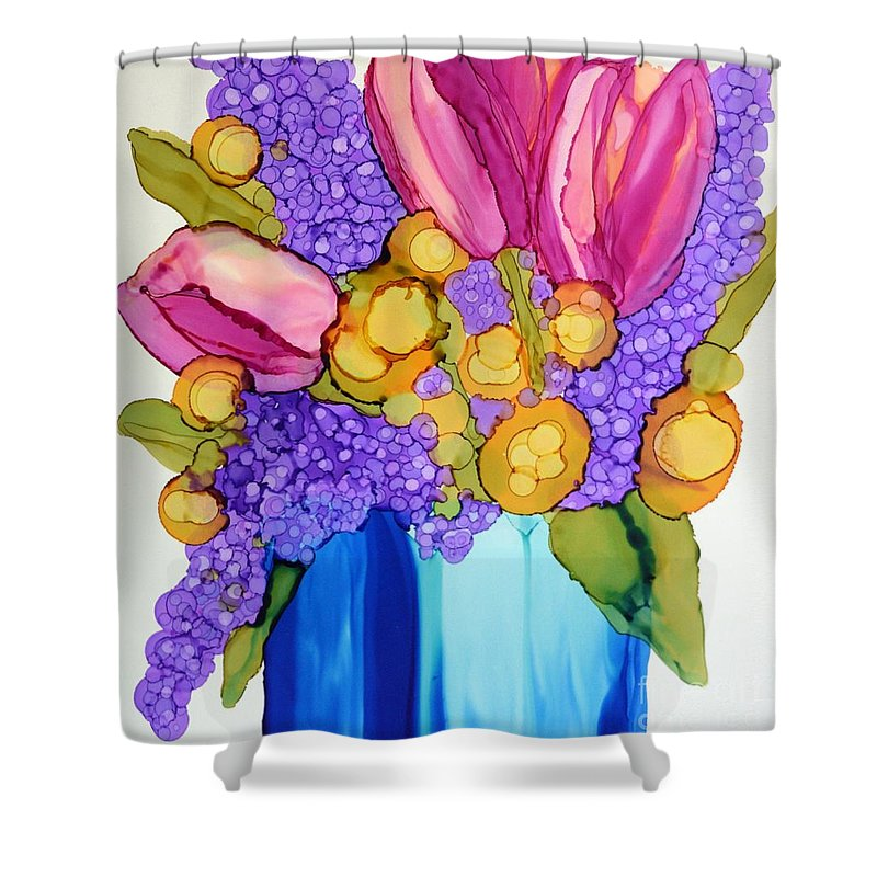Floral Shower Curtain featuring the painting Spring Bouquet by Beth Kluth