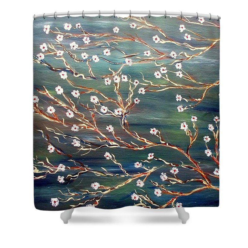 Floral Scene Shower Curtain featuring the painting Spring Breeze by Robin Monroe
