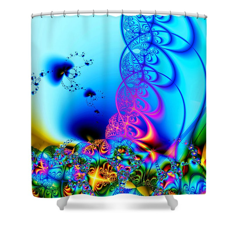 Fractal Shower Curtain featuring the digital art Spring Breezes by Claire Bull