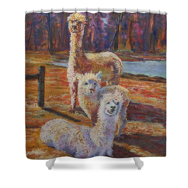Alpaca Shower Curtain featuring the pastel Spring Celebration - Mothers And Child by Alicia Drakiotes