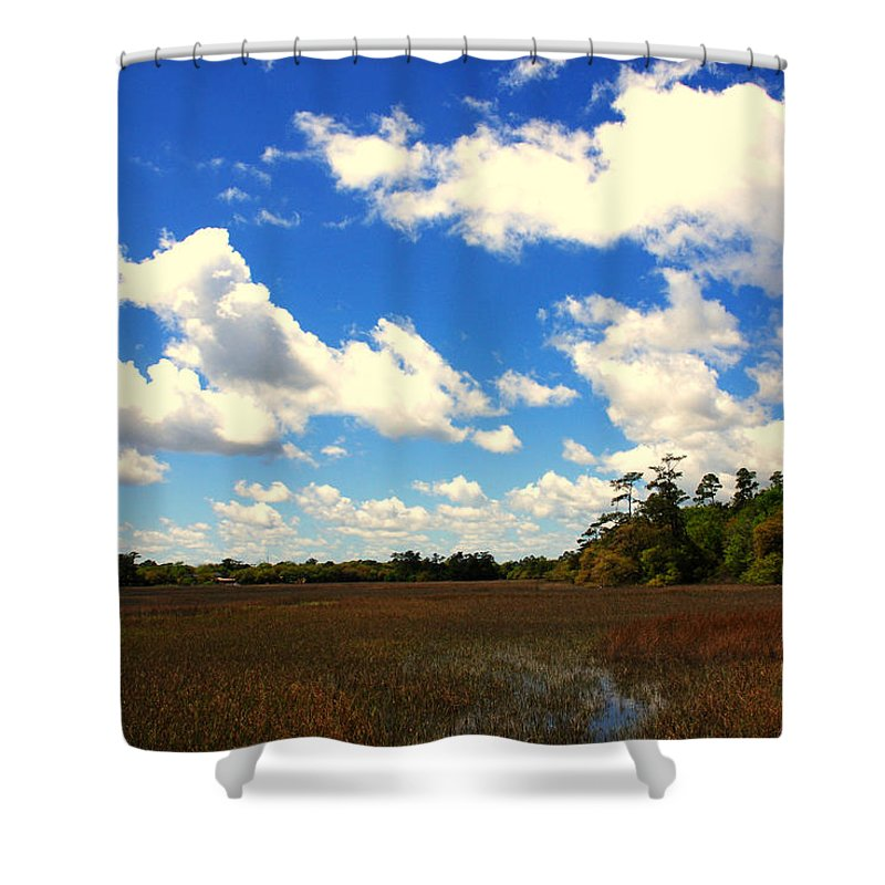 Spring Shower Curtain featuring the photograph Spring Clouds Over The Marsh by Susanne Van Hulst
