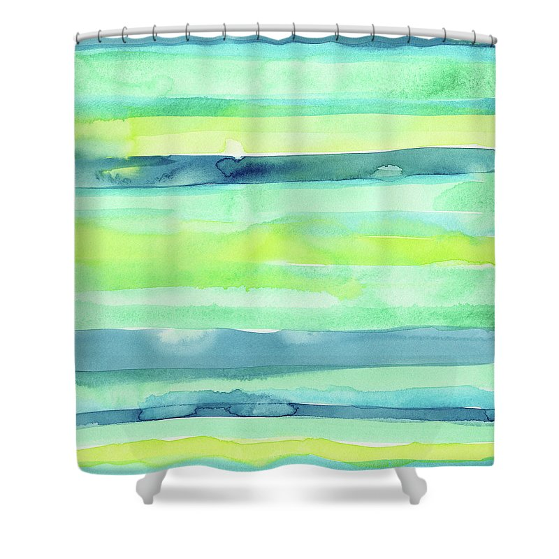 Pattern Shower Curtain Featuring The Painting Spring Colors Horizontal Stripes By Olga Shvartsur