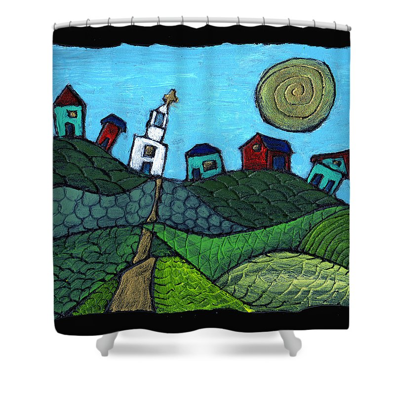Whimsical Shower Curtain featuring the painting Spring Comes To The Valley by Wayne Potrafka