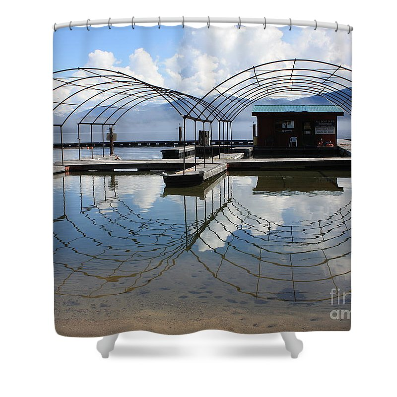Spring Shower Curtain featuring the photograph Spring Docks On Priest Lake by Carol Groenen
