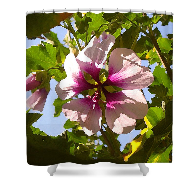 Flower Shower Curtain featuring the painting Spring Flower Peeking Out by Amy Vangsgard