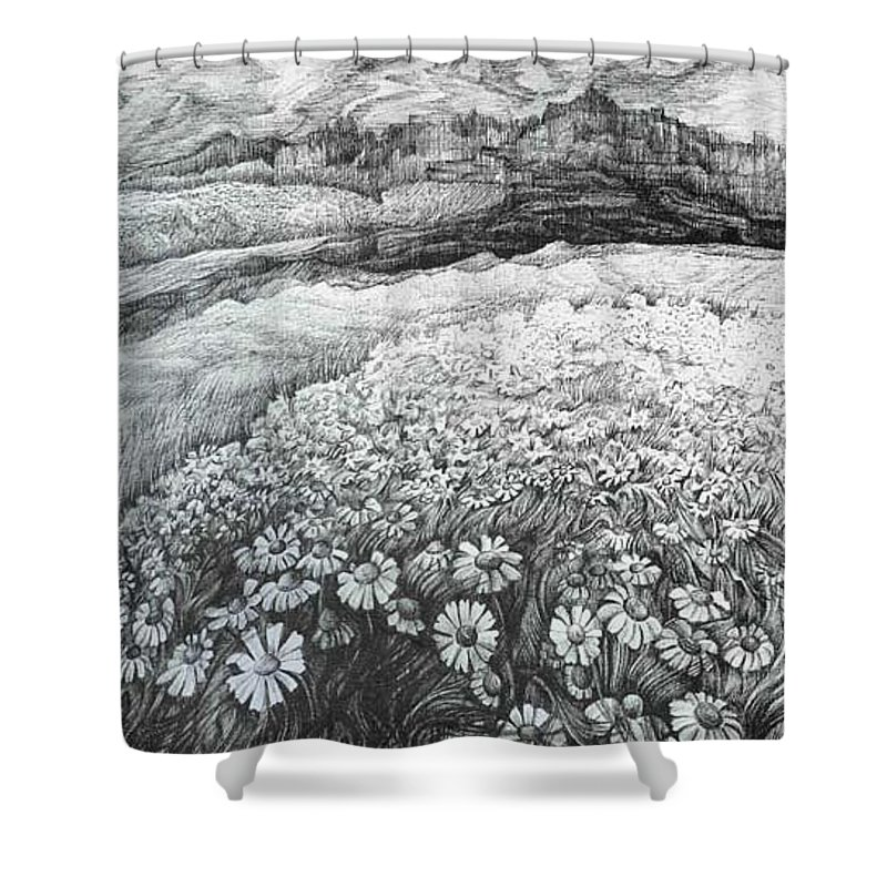 Flower Shower Curtain featuring the drawing Spring Flowers by Anna Duyunova