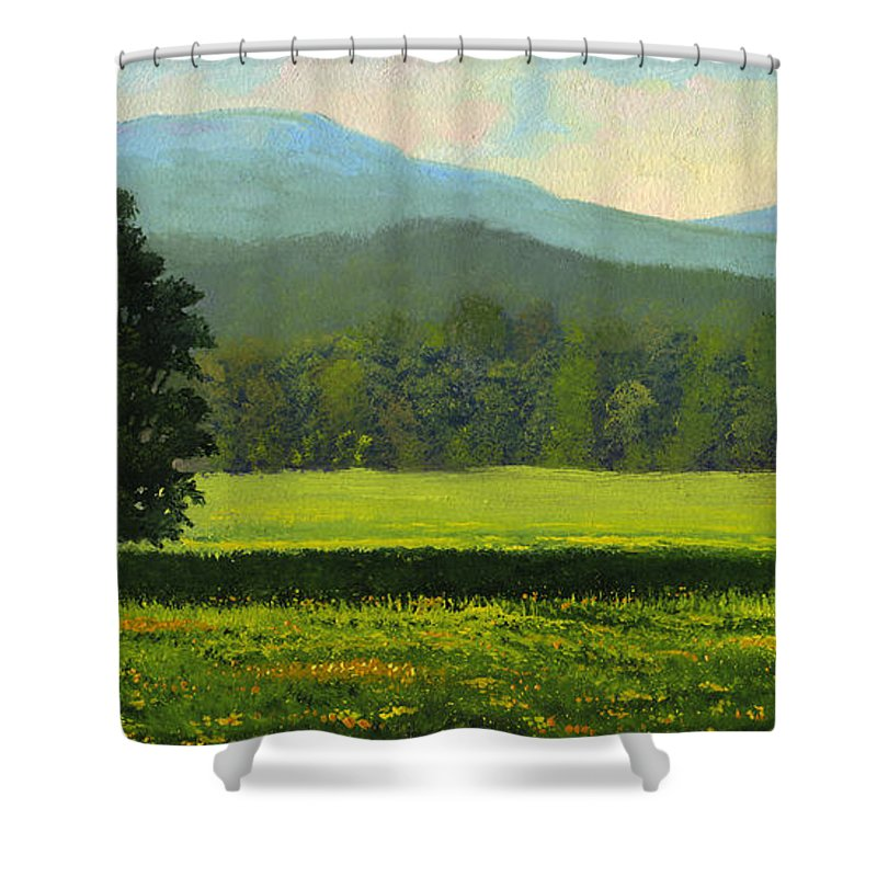 Landscape Shower Curtain featuring the painting Spring Flowers by Frank Wilson
